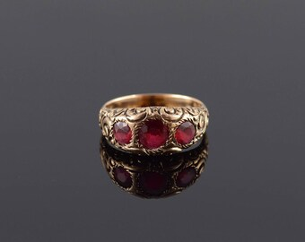 1.60 Ctw Garnet Three Stone Ornate Scroll Ring Size 8.25 Gold