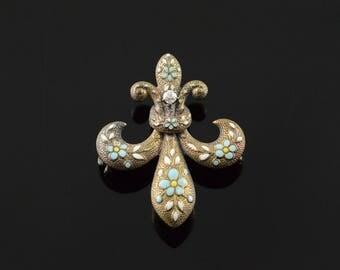14k White Blue Fleur De Lis Enamel Victorian Watch Fob Hanger Pin/Brooch Gold