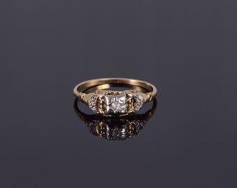 10k Retro Diamond Inset Ornate Engagement Ring Gold