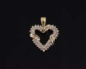 14k Diamond Encrusted Wrapped Heart Pendant Gold
