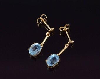 14k Oval Blue Topaz Dangle Post Back Earrings Gold