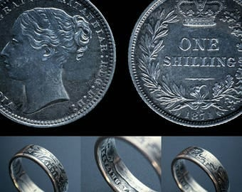 Queen Victoria sterling silver shilling ring.