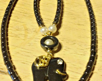 """Hematite Elephant and Faux Pearl 18"""" Necklace,Costume Jewelry, Gift for Women, Gift for Girls"""