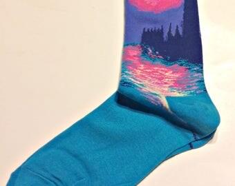 Monet's  Waterlilies & Parliament Art Socks -Women's Cotton Blend Trouser Sock - Art Teachers - Teachers - Art Gift - Artsy Socks