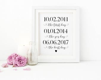 A4 'The first day, the yes day, the best day' Wedding Table Keepsake print