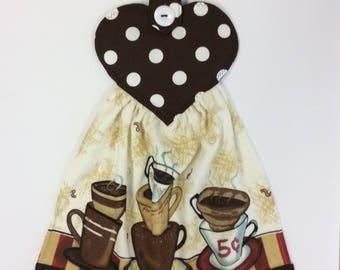 COFFEE LOVER TOWEL/ Refrigerator Towel/Oven Towel/ Hanging Hand Towel/ Buttoned Hand Towel