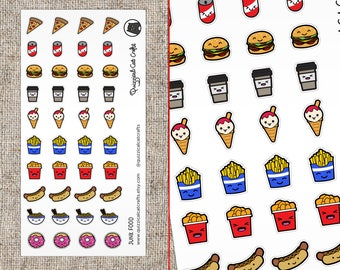 Kawaii junk food stickers // fast food stickers // cute // Burgers, fries, ice cream planner stickers