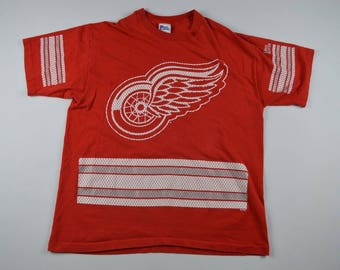 90s PRO PLAYER Detroit Red Wings Spell Out Nhl Hockey Shirt Mens XL, Vintage Detroit Red Wings Shirt, Retro Hockey Shirt, Vintage Hockey