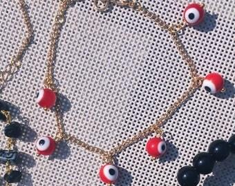 Red Evil Eye Good Luck Gold Charm Bracelet