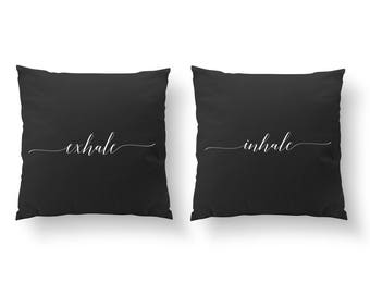 SET of 2 Pillows, Inhale Exhale Pillow, Bedroom Pillows, Livingroom Decor, Throw Pillow, Bedroom Decor, Cushion Cover,Gold Decorative Pillow