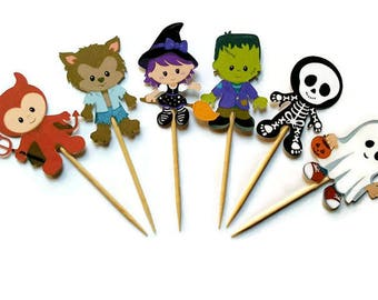 Halloween cupcake toppers - set of 12, ghost, witch, skeleton, Frankenstein, Halloween centerpiece, Halloween cake topper, Halloween party