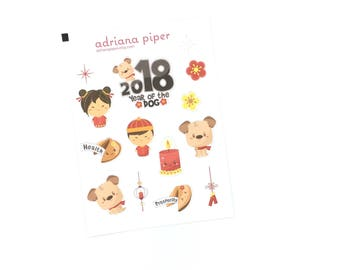 Chinese New Year 2018 Mini kit for Erin Condren Life Planner, Plum Paper Planner, Filofax, Kikki K, Calendar or Scrapbook SH-203
