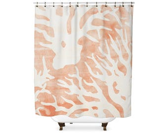 Watercolor Coral shower curtain