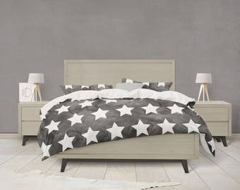 Black and white water color stars duvet cover