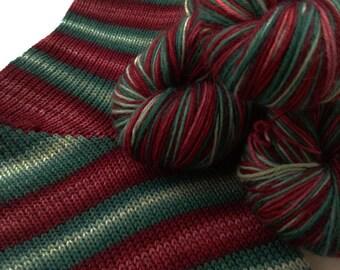 Hand dyed self striping merino sock yarn - Vintage Baubles