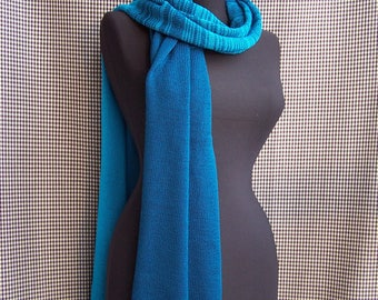 big long fine dark and light greenish blue sapphire gradient striped knitted soft wool blend scarf for men or women