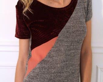 Knitted in silk and velvet asymmetric top