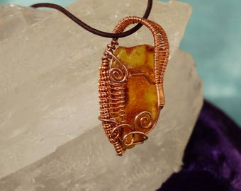 One of a Kind Wire Wrapped Amber Necklace