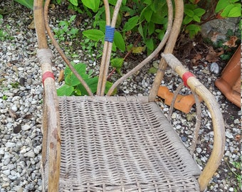 Childs Wicker Chair / French Chair / Small Garden Chair / Childs Seat / Ratton Chair / Vintage Ratton Chair / Mid Century Wicker chair