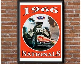 1966 NHRA Nationals Poster - Vintage Drag Racing
