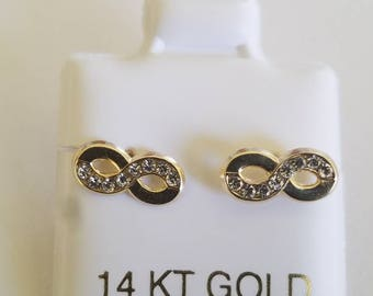14k Gold Infinity Stud Earrings
