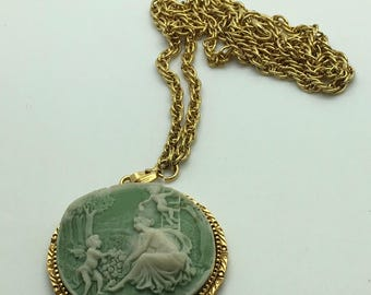 Vintage Green Faux Jasperware Cameo  Gold Tone Medallion Chain Necklace  Pendant  Lady with Cherub Angel Romantic Ornate Round  Gift For Her