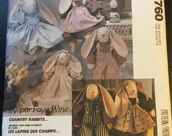 """McCall's Crafts Country Rabbits 3760 893 P317 Sewing Pattern Faye Wine Stuffed Bunny 25 """" 20 """" 14 """" Baby Bunny Girl Bunny Boy Bunny"""