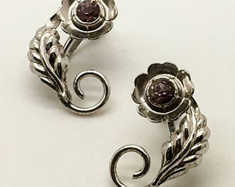 Bond Boyd Sterling Silver Screw Back   Clip On Earrings Floral Amethyst Center Leaf Flower Gift For Her Birthday Anniversary