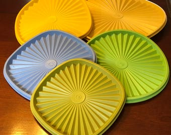 "Vtg Tupperware Servalier Starburst Replacement Lid Seal Cover 881 10 "" Or  841 6 "" Or  839 7 "" Blue Or 8 "" 1205 Lime Green"