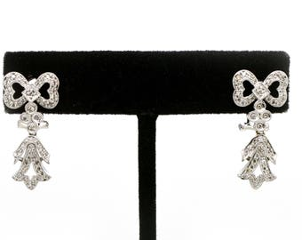 14k White Gold Diamond Dangle Drop Pretty Bow Earrings - .50 ct. tw - 27 mm drop