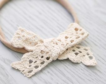 Boho scallop edge lace bow / headband / hair tie / hair clip