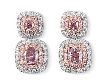 Pink Diamond Earrings, Diamond Earrings , Fancy Pink Diamond Earrings, 18k White gold, drop earrings, gold diamond earrings, natural diamond