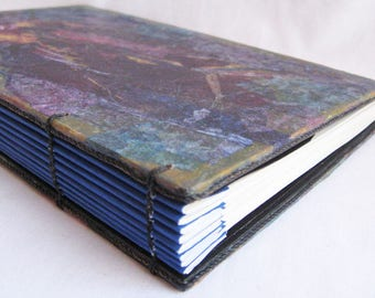 Handmade coptic journal, book with pockets, jewel tones, plain paper diary, unlined journal, blue and black book, 8 by 5 notebook