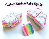 Custom Rainbow cake figurine/slices!