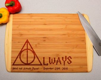 """Harry Potter """"Always"""" Deathly Hallows Custom Engraved Cutting Board, Wedding Gift, Home Decor, Anniversary Gift, Bridal Gift, Housewarming"""