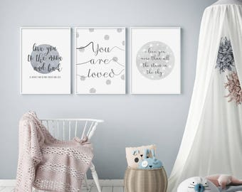Stars and Spots (Set of 3) - Light Grey Nursery Prints - Children's Wall Art - Baby Nursery Decor - Moon & Stars - Typography