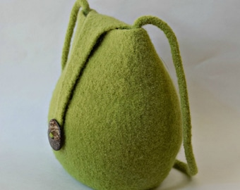 Green Felted Wool Boho Purse