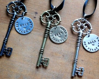 New Home Ornament/ First Home Skeleton Key Ornament / Family Gift  / Stamped / Housewarming / Christmas/Realtor Gift /