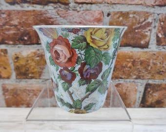 Antique Great tit roses floral beaker