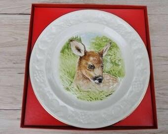 Roe Kid / Deer Vintage Royal Worcester Decorative Plate, Palissy England Boxed
