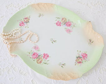 Beautiful Vintage Porcelain Serving Plate/Cake Tray, Pink Rose Decor, Green and Peach Blush Rim, England