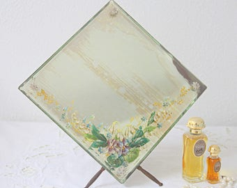 Beautiful Antique French Table Mirror, Bevelled Mirror, Handpainted Flower Decor, Murano Glass Rosettes