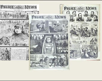 3  Miniature  vintage    'Jack the Ripper'  Victorian  NEWSPAPERS  -  Dollhouse miniature 1/6   1/12   1/24   1/48   playscale