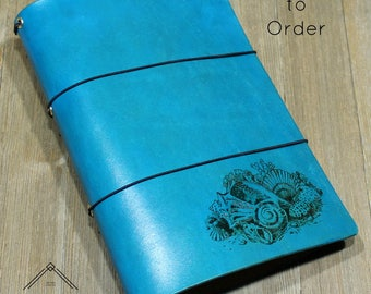 """The """"Tierney"""" Custom Leather Traveler's Notebook with Sea Shell Pyrographic Art - (WIDE WIDTH) for Large Moleskine Cahier Journal (6"""" x 9"""")"""