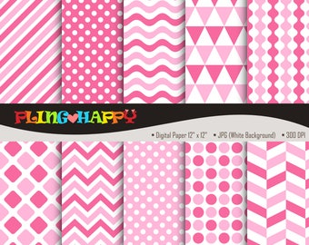 70% OFF Pink Set Digital Papers, Chevron/Polka Dot/Wave/Stripe Graphics, Personal & Small Commercial Use, Instant Download