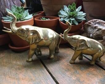 Elephants, Pair of Elephants, Brass Elephants, Brass Decor, Brass Animal, Elephant Figurines, Brass Figurines, Brass Elephant,