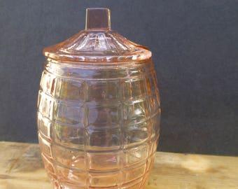 Pink Glass Honey or Jam Pot