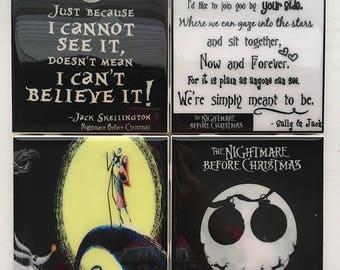 Nightmare Before Christmas - Coaster Set of 4 -  Tile Ceramic Xmas coasters Sally Jack skellington