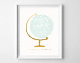 Personalized Globe Nursery Printable - Mint and Gold Nursery Wall Art - Custom Nursery Globe Print - Nursery Globe Art Print - Nursery Decor