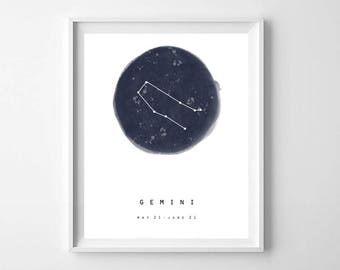 Gemini Zodiac Sign Print,Printable Art,Minimalist Zodiac Wall Art,Astrology Print,Constellation Print,Nursery Decor, Kids Room Decor